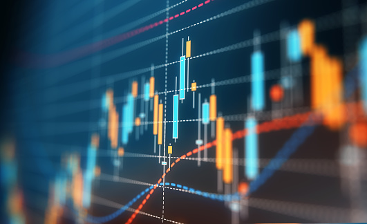 A financial data analysis graph. Selective focus. Horizontal composition with copy space.